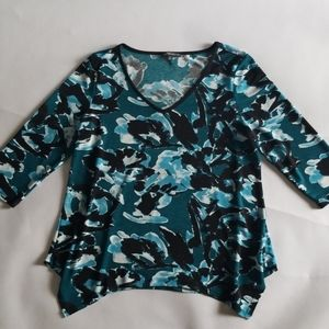Adrianna Papell Teal Abstract V-Neck Blouse M